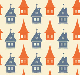 Seamless pattern with different silhouettes of houses