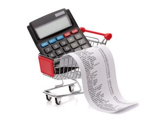 Shopping till reciept, calculator and cart