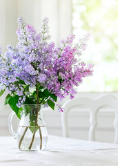 Wall Murals Lilac bunch lilac in vase on table