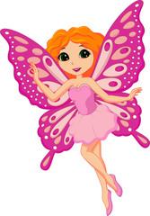 Foto auf Gartenposter Die magische Welt Illustration of a beautiful pink fairy