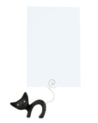 Black cat statuette with place for your photo isolated on white