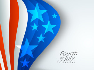 Shiny American flag waving on grey background with text Fourth o