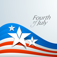 American Flag waving background with stars and text Fourth of Ju