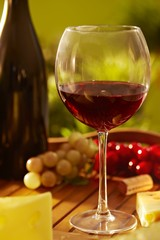 Glass of red wine outdoor