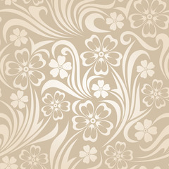 Printed roller blinds Floral black and white Seamless floral pattern. Vector illustration.