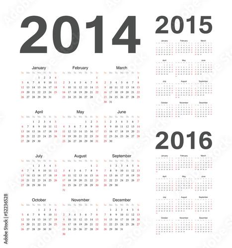 simple european 2014 2015 2016 year vector calendars