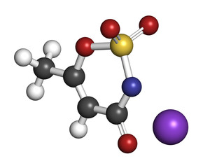 Acesulfame artificial sweetener, molecular model