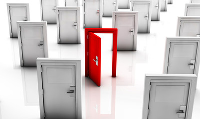 3d Closed doors in white and one in red open