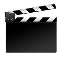 Blank film clapper on white background