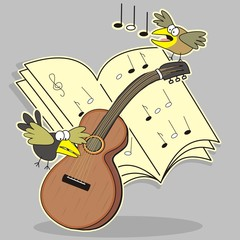 Guitar and bird