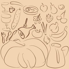 outline food drawing