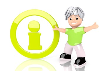 3d render of a young circle sign  with cute 3d character