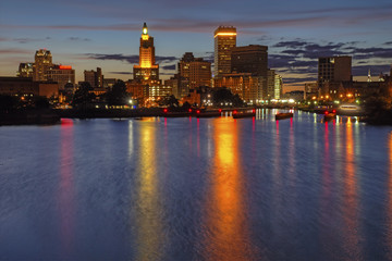 HDR image of the night skyline of Providence, Rhode Island