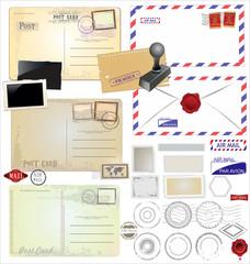 Vintage postcard designs and postage elements
