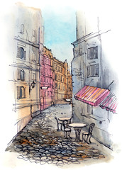 Poster de jardin Drawn Street cafe cafe on the street