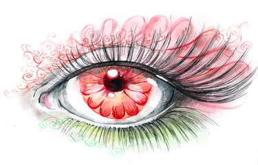 human eye with flower