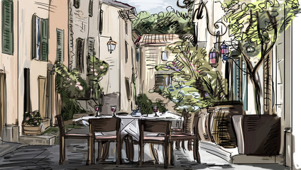 Door stickers Drawn Street cafe European city street color illustration