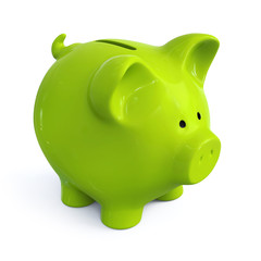 Green piggy bank - front left view