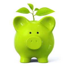 Green piggy bank with plant