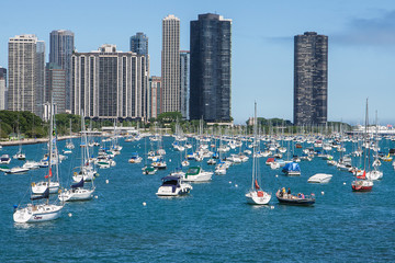 Chicago skyline with yachts and waterfront
