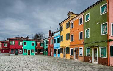 Colorful Burano channel view, Venice