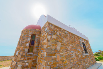 Fototapete - Greece Cyclades Islands, Church view in Syros island at summer t