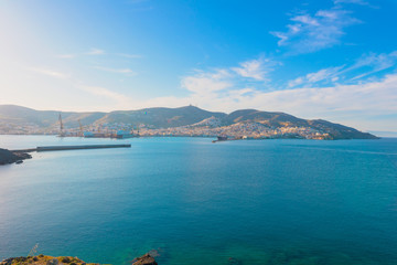 Greece Cyclades Islands, Panoramic sea view from Syros at a hot