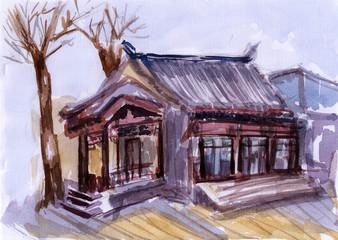watercolor China Architecture