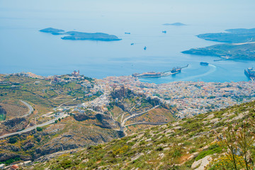 Greece Syros island in Cyclades, main port panoramic view on a s