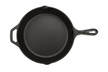 Top View Of Cast Iron Pan On White