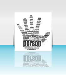 Info text graphic Positive Thinking in word cloud. head in flyer