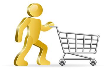 Human and shopping cart