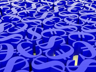 3d symbol euro and dollar