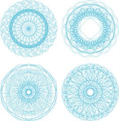 abstract blue with circle pattern, mandala set
