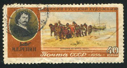 Repin Volga River .Boatmen