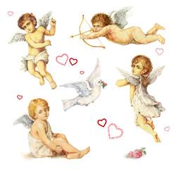Nostalgische Design Elemente: Engel, Taube und Rosen