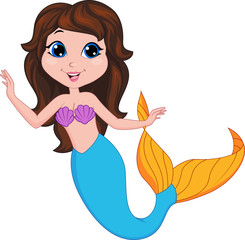 Wall Murals Mermaid Cute mermaid cartoon