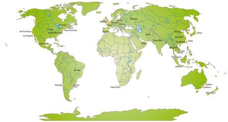 Tuinposter Wereldkaart Weltkarte