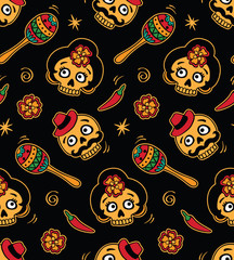 Seamless with mexican skulls