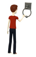 3d render of cartoon character with knocker