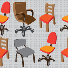 seamless pattern vector chairs on gray background