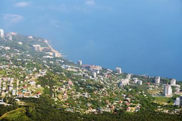 aerial view of Crimea coastline near Yalta