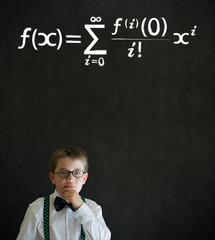 Thinking boy business man with maths equation