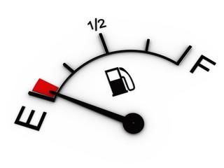 3d illustration of fuel gauge showing low level