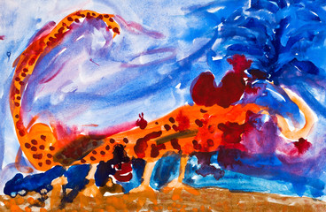 child's paiting - scorpion in desert