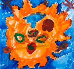 child's painting - orange face of sun