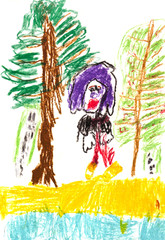 child's drawing - people in woods