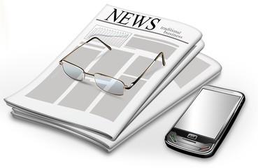 Zeitschrift mit Brille und Handy