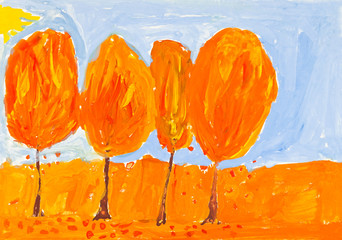 child's painting - yellow trees