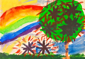 child's paiting - rainbow under fruit garden
